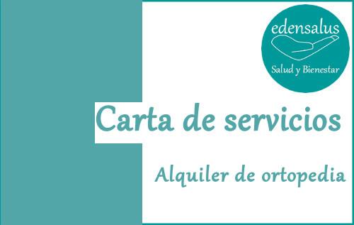 Carta de servicios de alquiler de ortopedia